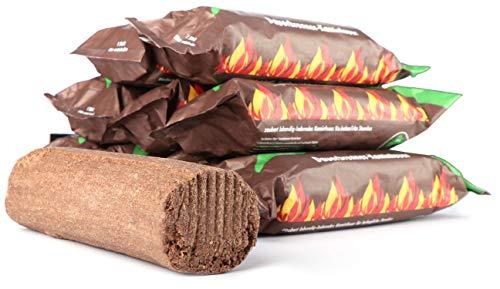 com-four® 10 Dauerbrenner-Kaminfeuer aus nachwachsenden Rohstoffen, Kaminholz (10 Stück)