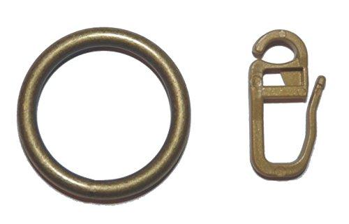 10 Gardinenringe Metall in Farbe Messing antik für Vorhangstangen bis 25 mm Durchmesser
