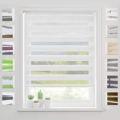 bobodeco Doppelrollo Klemmfix Ohne Bohren (Weiss,110x130cm) Duo Rollo Transparentes und undurchsichtiges mit klemmträger Sonnenschutzrollo Fensterrollo für Fenster & Türen