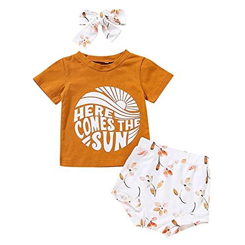 Shaohan Ropa de bebé niña de manga corta con letras, camiseta + pantalones cortos con estampado solar + cinta para la cabeza, conjunto de ropa deportiva de 3 piezas amarillo 90