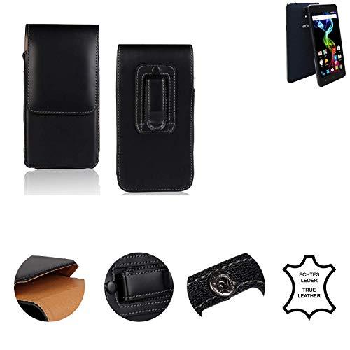 K-S-Trade® Holster Gürtel Tasche Für Archos 55b Platinum Handy Hülle Leder Schwarz, 1x