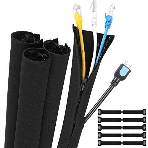 Gozlu Organizador Cables,4 x 50 cm Funda Cubre Cables de Neopreno con Cremallera +10 Reutilizables Bridas,Manguitos de Gestión para Recoge TV/Ordenador/Hogar/Entretenimiento/Oficina Cables