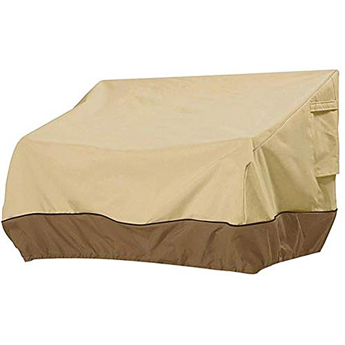 Relax love Garden Loveseat Cover Patio Deep Seat Covers Outdoor Bench Lounger Chair Cover Heavy Duty Waterproof Veranda Furniture Protector Beige (193 * 83 * 84cm)
