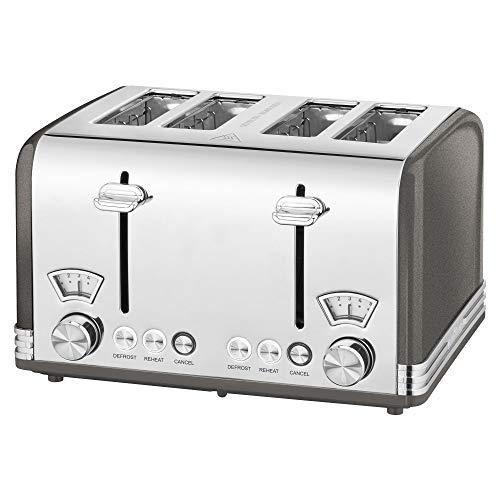 ProfiCook PC-TA 1194 Toaster 4-Scheiben-Toaster, Vintage-Look, Edelstahlgehäuse, 1x Brötchenaufsatz, 2x stufenlos einstellbarer Bräunungsgrad, 2x Zentrierfunktion, 2x Krümelschublade, anthrazit