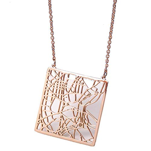 Dames Ketting - City Map Ketting - Spanje Madrid Reismonument Titanium Staal Ketting - Mode Accessoires