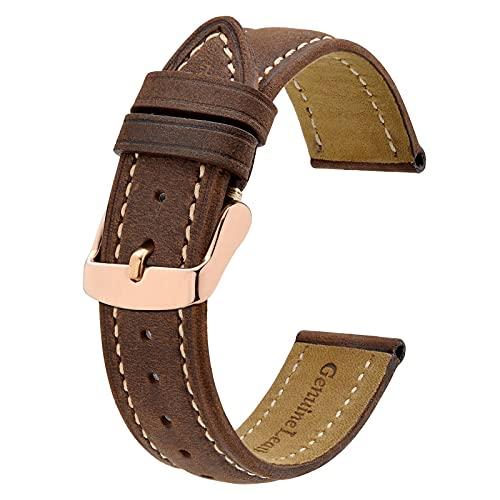 BISONSTRAP Correas de Reloj Vintage con Hebilla de Oro Rosa, Correa de Repuesto de Cuero 20mm (Marrón/Hilo Beige)