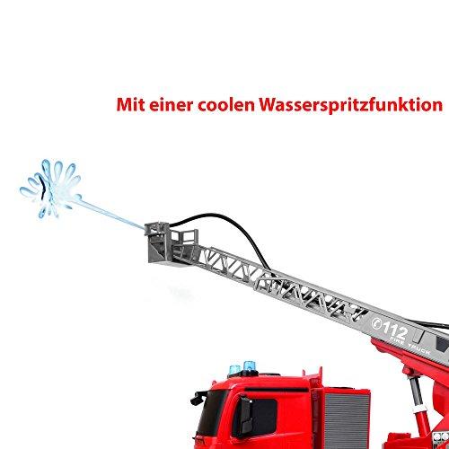 RC Auto kaufen LKW Bild 5: Mercedes-Benz Antos - original RC ferngesteuerter Feuerwehrwagen mit der neuesten 2.4GHz-Technik, wiederaufladbarer Akku, steuerbarer Rettungsleiter, Sound- und LED-Effekte, Komplett-Set inkl. Akku und Ladegerät*