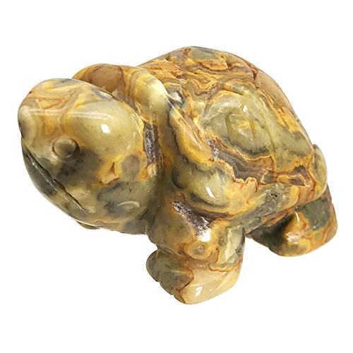 """faovramulet Hand Carved Stone Turtle Tortoise Animal Figurine Pocket Statue Sculpture, Crazy Agate 1.5"""""""