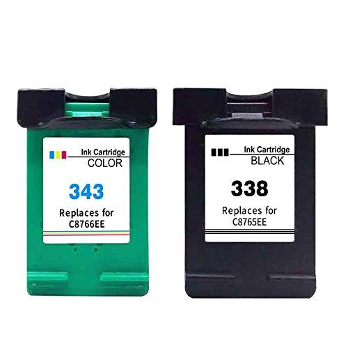 Ksera Remanufacturado HP 338 343 Cartucho de Tinta, Paquete de 2 (1 Negro + 1 Tricolor) C8765E / C8766E para HP DeskJet 460/5740 /6540/6620 /6840/9800