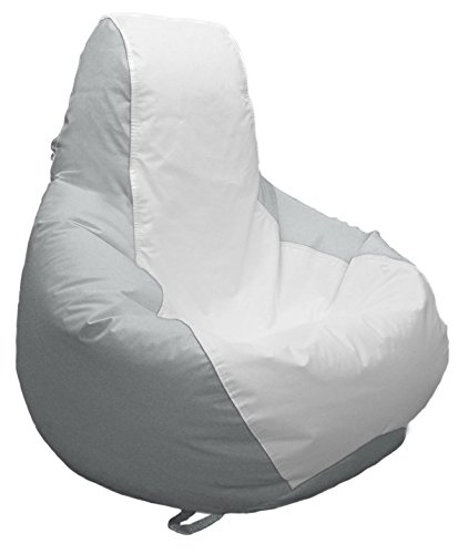 JoyBean Outdoor Bean Bag Chair - Water Resistant Marine Vinyl Ideal for Yacht Boat Pool Patio Garden Marine - Lawn Chair - Patio Furniture - for Adults Teens Kids (Medium Longneck, White/LightGray)