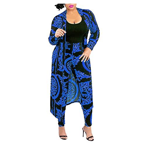 Yowablo Strickjacke und Hose Set Damen 2-teilige Club-Outfits Langarm-Blumenfront mit offener Vorderseite (M,blau)