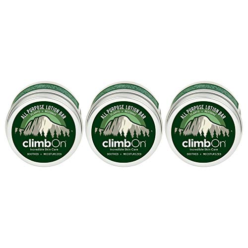 climbOn All Purpose Lotion Bar - Aromatherapy Balm Helps Soothes and Moisturizes Dry Cracked Skin (Original, 1 Ounce Tin (3 Pack))