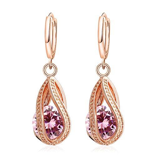 HoopsEarringsForWomen,Rose Gold Fashion Pink Zirconia Drop Hoop Piercing Earrings Hypoallergenic Lightweight Hoop Ring Circle Jewelry Earrings For Women Girls Party Wedding