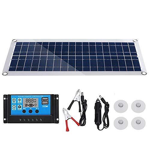 Zhang Portable Solar-Panel, 50W Semi-Flexible Solar Panel 5V / 18V Dual USB Mit Auto-Ladegerät + 10A Solar-Laderegler Für Camping LED-Licht