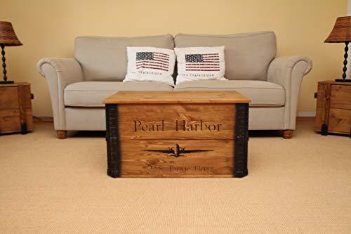 Uncle Joe´s Truhe Pearl Harbor Couchtisch Truhentisch im Vintage Shabby chic Style aus Massiv-Holz in braun mit Stauraum und Deckel Holzkiste Beistelltisch Landhaus Wohnzimmertisch Holztisch nussbaum - 2