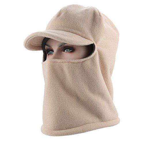 ECYC® Hiver Chaud Visage Masque Chapeau De Conduite ÉPais Velours Hommes Femmes Sport en Plein Air Chapeaux VisièRe Sun Protect, Beige