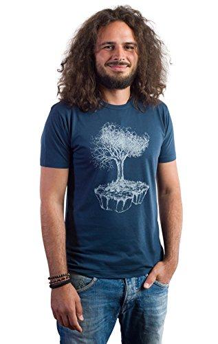 Life Tree Fairwear Bambus Shirt Men Denim Blue Birds Island aus Baumbusviskose und Bio-Baumwolle Größe M