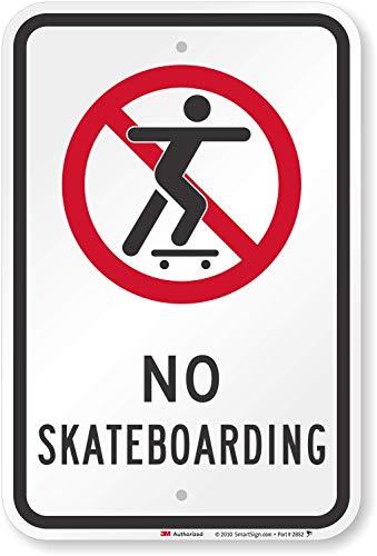 "SmartSign ""No Skateboarding"" Sign   12"" x 18"" 3M Engineer Grade Reflective Aluminum"