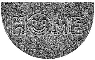 Nicoman Embossed Halfmoon Half Circle Door Mat Dirt-Trapper Jet-Washable Doormat 70x44cm (Grey, Home Smiley FACE Shape) - Use Indoor or Sheltered Outdoor