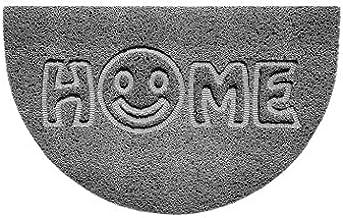Nicoman Embossed Halfmoon Half Circle Door Mat Dirt-Trapper Jet-Washable Doormat 70x44cm (Grey, Home Smiley FACE Shape) - ...