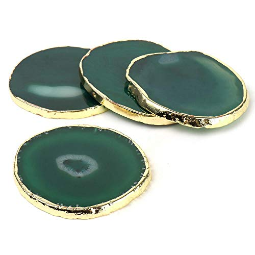 Agate Coaster Cup Mat, Slice Agate Beverage Coasters Drinks Gift Set of 4, With Gold Edge Coffee Table Decor Stone Agate Coaster Crystal Pad (Green,6-8cm)