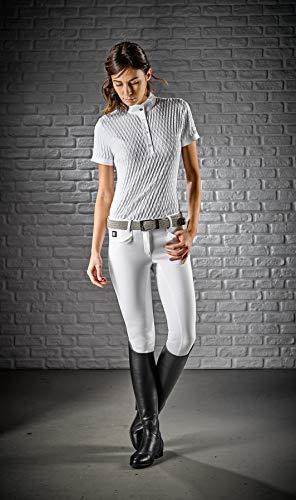 Equiline Damen Poloshirt Alissa Weiss Kurzarm mit Rautenmuster, Größe:L