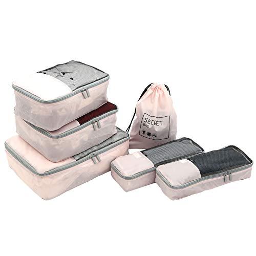 TPRC 6 Piece Packing Cubes, Shoe, Laundry Bag Travel Organizer Set,...