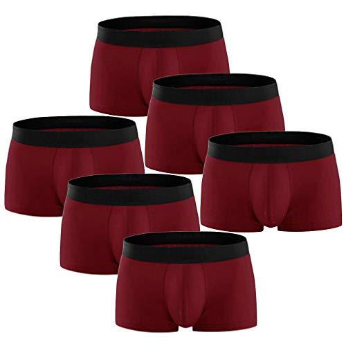 DNOQN Boxershorts Men Herren Sport UnterwäSche 6er Pack Bunte Komfortable 95% Heiße Mode Baumwoll Unterwäsche Übergröße Marine M
