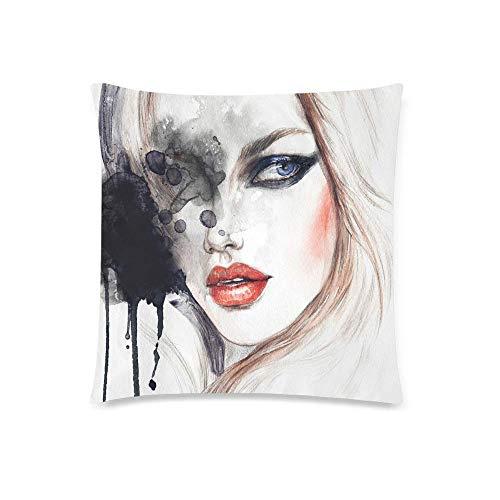 GOSMAO Cara de Mujer Abstracta con Labios Rojos sexys, Pintura de Acuarela de Moda, cojín Decorativo, Funda de Almohada, Protector de Funda de Almohada Decorativa