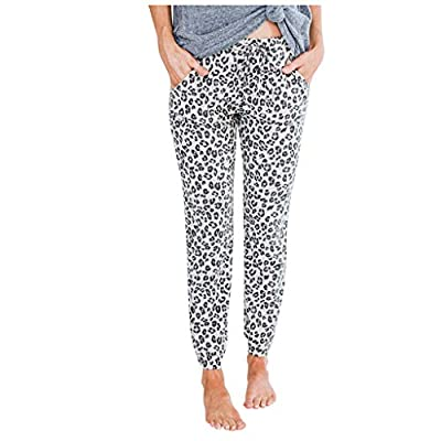 jiumoji Women High Waist Leopard Printed Easy Trousers Relaxed Fit All Day Straight Leg Sports Casual Pant
