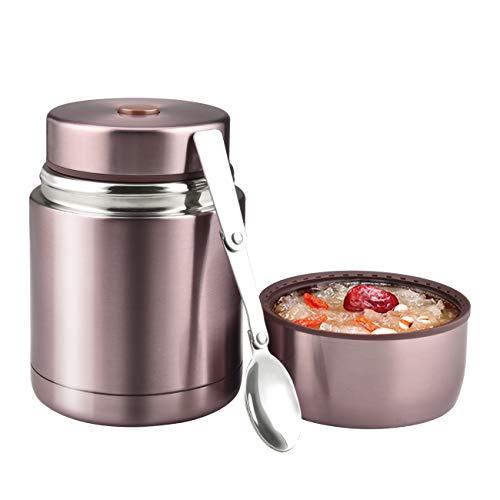 Thermoskanne Boîte à déjeuner isotherme en acier inoxydable 800 ml Bento Lunch Box pour enfants adultes avec cuillère pliable pour l'école, voyages en plein air Or