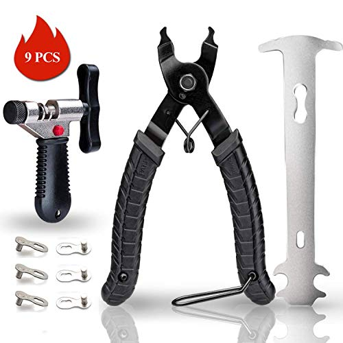 GORNORVA Bike Chain Tools with Chain Hook Chain Cutter Bike Link Plier Chain Wear Indicator Tool + 3 Pairs Bicycle Missing Links, Road and Mountain Bike Chain Repair Tools for All Models Bike Chains
