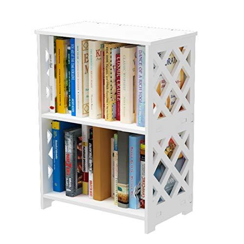 Rerii Small Bookshelf 2 Tier Bookshelf for Small Spaces 2 Shelf Bookcase Kids Book Storage Organizer Case Open Shelves for Bedroom Living Room Office White