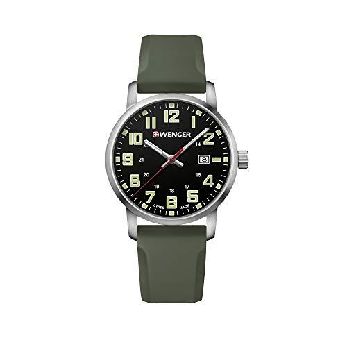 Wenger Herren Avenue - Swiss Made Analog Quarz Edelstahl/Silikon Uhr 01.1641.112