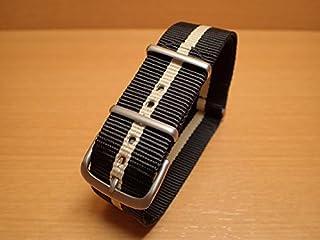Traser トレーサー 腕時計 純正 NATOストラップ バンド ベルト バネ棒つき BLACK SAND ブラック/ベージュ【正規輸入品】22mm