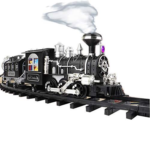 ZDSKSH Christmas Trenino con Suono Realistico e Luce Treno a Vapore Elettrico per Bambini Trenino di Natale, Set con Locomotiva, vagoni, rotaie e Spirito Natalizio, Funzionamento a Batteria