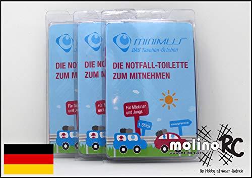 molinoRC 3X Notfall-Toilette | Wegwerf-Toilette | Urinal | Reisetoilette | Minimus Notfall-WC | Kinder Buben Mädchen Erwachsene