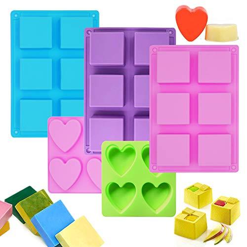 PUDSIRN - Stampi in silicone a forma di cuore a 6 cavità quadrate e 4 cavità a forma di cuore, fatti a mano, per sapone, muffin, cioccolato, torte