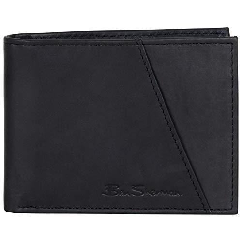 Ben Sherman Men's Bi-Fold Wallet, Smooth Marble Crunch Black Leather