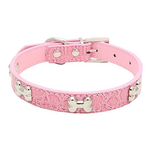 Gusspower Halsband für Hunde, Knochenform, Haustier-Halsband, PU-Leder, Katzen-Leine, verstellbar