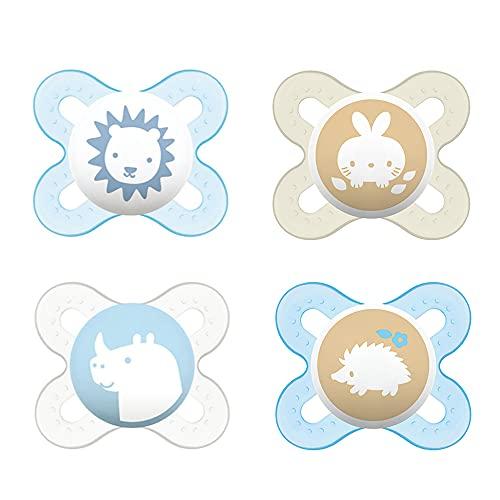 MAM Chupetes de silicona Skin Soft para recién nacidos y prematuros extra pequeños // 0 – 2 meses // Juego de 4 // Incluye 2 cajas de transporte para esterilizar