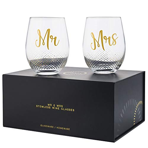 Verre Esprit Mr And Mrs Gifts Set Of 2 Crystal Stemless Wine Glasses With Beautiful Gift Box - Perfect Engagement Gifts, Wedding Gifts For The Couple, Anniversary Gifts For Couple, Or Couples Gifts