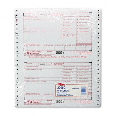 ~:~ TOPS BUSINESS FORMS ~:~ W-2 Tax Forms for Dot Matrix Printers, 6-Part Carbonless, 24 Continuous Sets/Pk by Tops