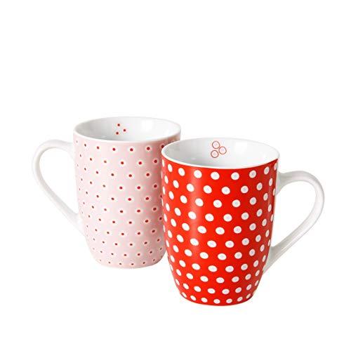B&B 2 STK Kaffeetassen rot Weiss rosa gepunktet Keramik Kaffee Tassen Becher Pott Dots Punkte Teetassen Kaffeepott Geschenk Valentinstag