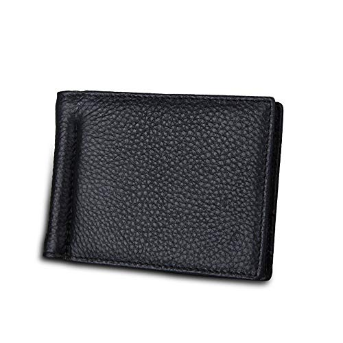 JIUYAODIANZI Mens Bags for Work Men's Wallet US Dollars Clip Card Package The First Layer of Leather Banknotes Folder Anti-RFID Anti-Theft Brush Travel Best Choice Men's Bag (Color : Black, Size : S)