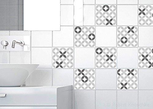 PLAGE 260104 9 Tegels Stickers -Zwart/Wit Keramisch, Zwart (10 x 10 cm)