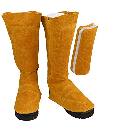 Cowhide Leather Welding Spats Welding Protective Shoes Feet Cover for Welder, Flame Resistant Foot Safety Protection (Yellow 1#)