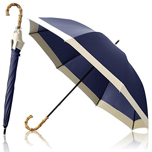 Ombrage 完全遮光 100% 日傘 ショートパラソル 親骨50cm 【5cmエッジライン / ネイビー】 UVカット100% UPF50+ 紫外線対策 遮熱加工 梅雨 ゲリラ豪雨 夕立 高強度 水をはじく テフロン加工 超撥水