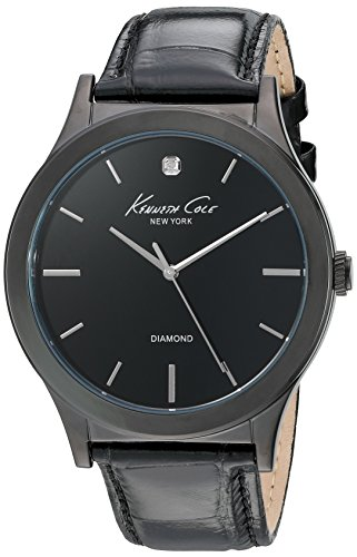Kenneth Cole New York Men's 10024367 Genuine Diamond Analog Display Japanese Quartz Black Watch