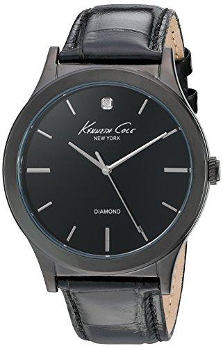 Kenneth Cole New York Men's 10024367 Genuine Diamond Analog Display Japanese Quartz Black Watch